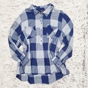 Lane Bryant Blue Plaid Bleached Tunic